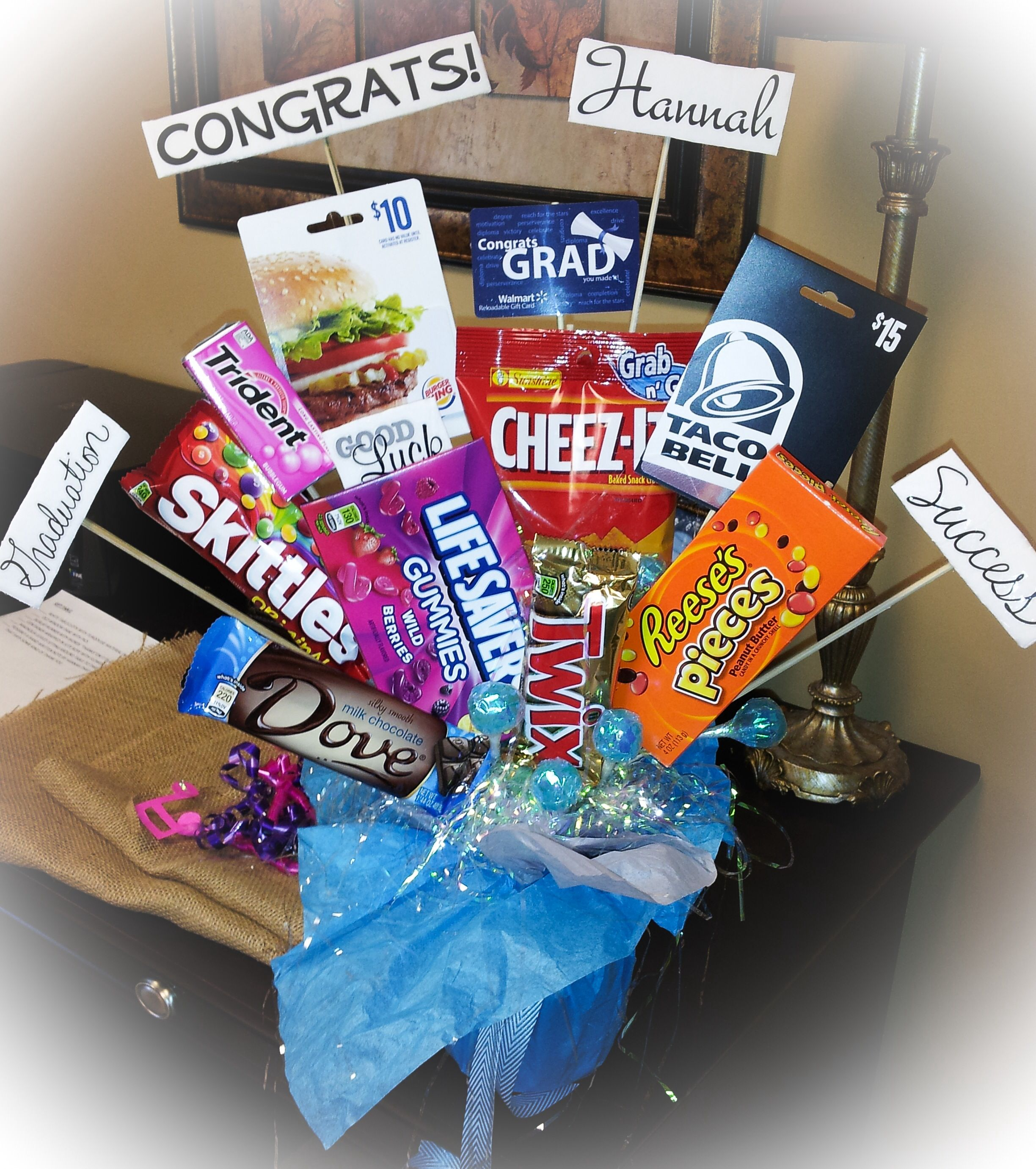 Candy and gift card bouquet for graduation gift gift