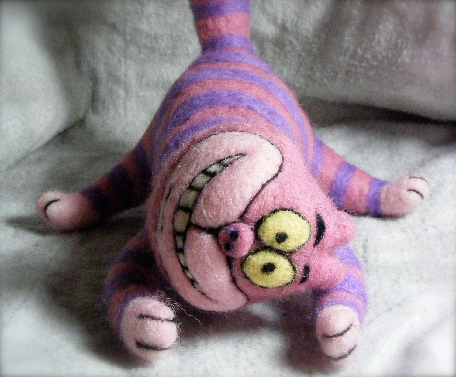 Needle Felted Crazy Cheshire Cat.