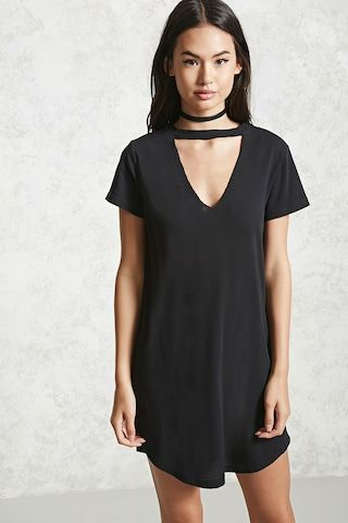 fec0b6aa2d A knit t-shirt dress featuring a V-neckline with a choker detail ...