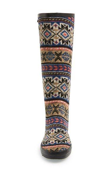 Women's MUK LUKS 'Aubrie' Fair Isle Knit Rain Boot | Fair isle ...