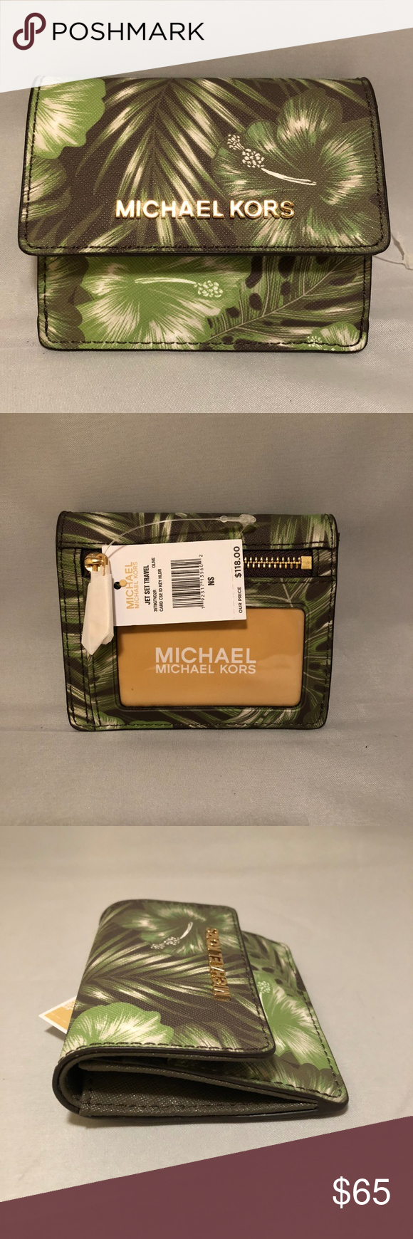 2f424823eb8e87 Michael Kors Jet Set Card Case ID Key Holder Olive Palm Leaf Print Saffiano  leather with