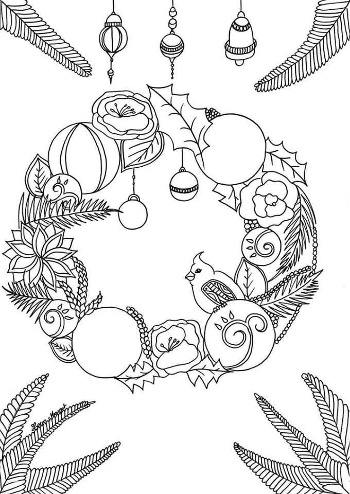 Coloriage couronne no l par leen margot art christmas colors christmas coloring pages et xmas - Coloriage couronne ...
