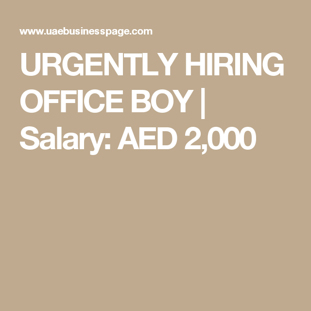 URGENTLY HIRING OFFICE BOY