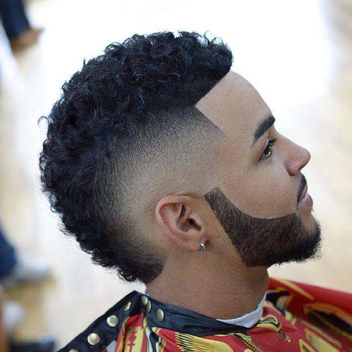 Burst Fade Fauxhawk Carved Beard Black Men Haircuts
