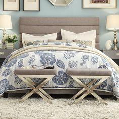 Tribecca Home Corbett Horizontal Striped Gray Linen Upholstered Full-size Bed (Full- Gray Linen), Grey
