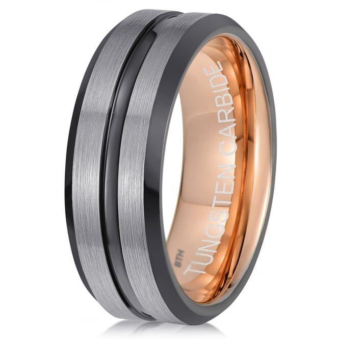 Tungsten Wedding Band Ring 10mm 8mm 6mm 4mm for Men Women Comfort Fit 18k Rose Gold Plated Beveled Edge Brushed Polished FREE Custom Laser Engraving Lifetime Guarantee