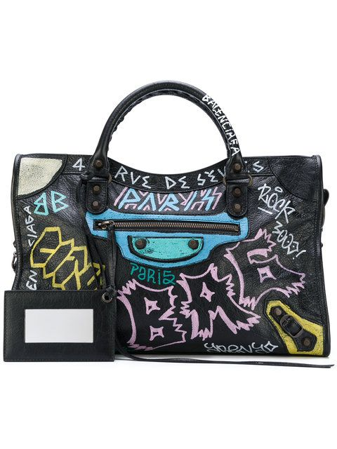 cc8bc2c4752b Shop Balenciaga Graffiti Classic City tote bag | Bag Lady stuff in ...