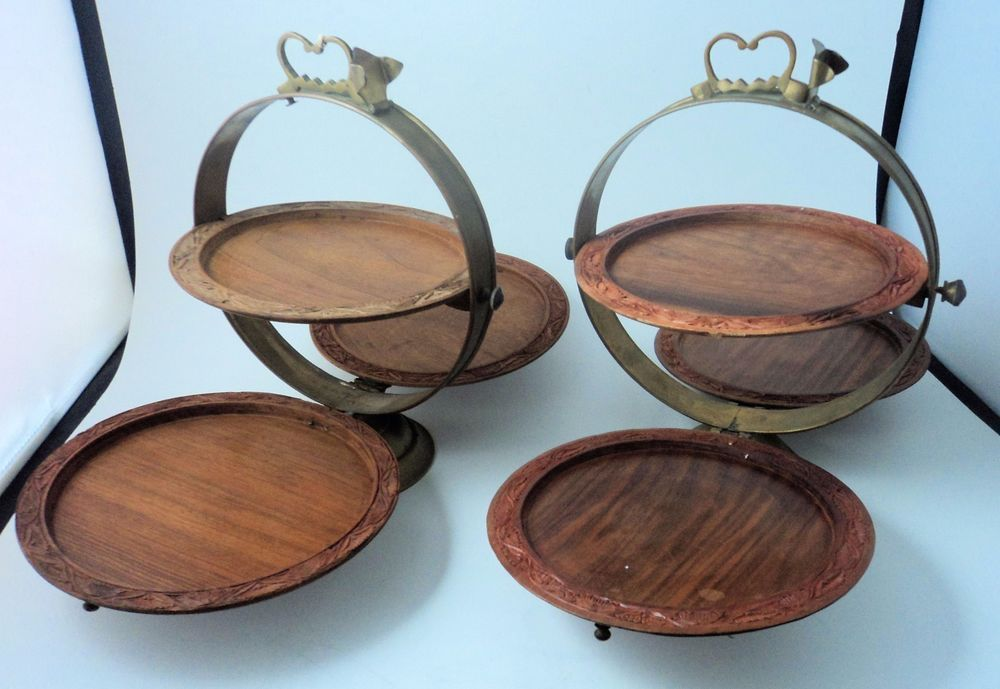 2 Antique 3 Tier Wood Engraved India Indian Collapsible Folding Serving Trays Serving Tray Antiques Tray