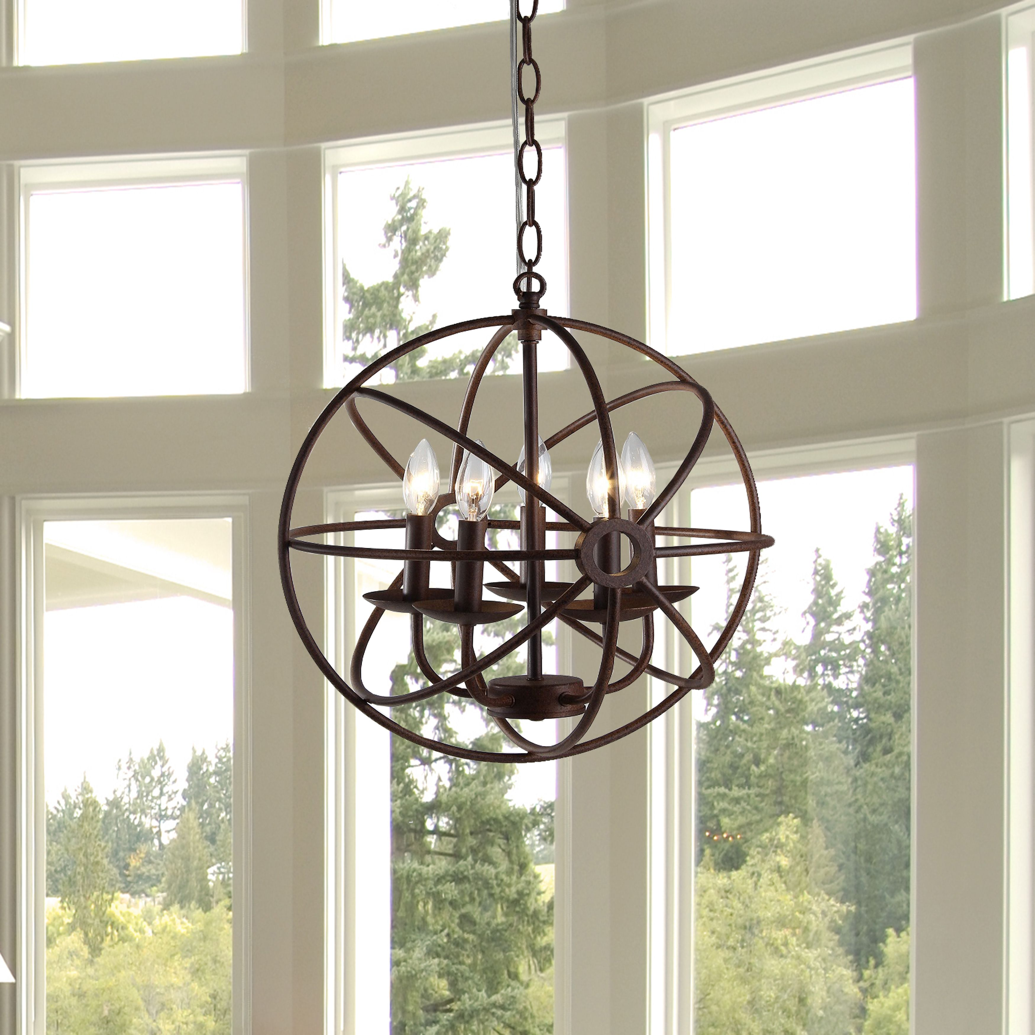 It is beautifully put together for an amazing and stylish illumination experience. This cage-like chandelier is 17 inches diameter and about 40 inches high.