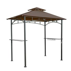 Sunjoy Brown Steel Rectangle Grill Gazebo Exterior 4 99