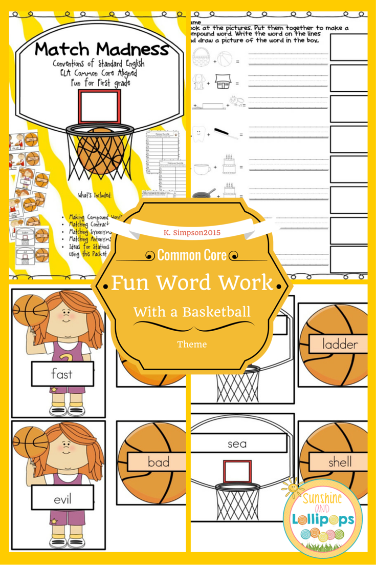 Literacy Stations and Centers for Language Arts Basketball Theme