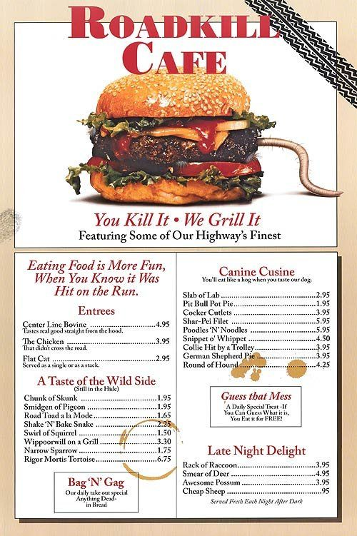 Roadkill Cafe Arizona Menu