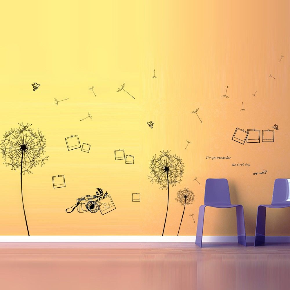 HUGE BLACK #DANDELION + PHOTO FRAME WALL STICKERS - The overall ...