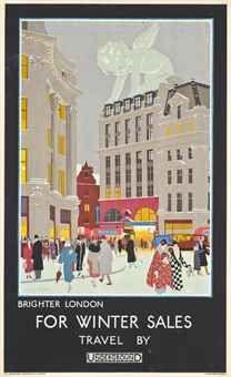 Brighter London - For winter sales, travel by Underground - 1924 - (Harold Sandys Williamson)