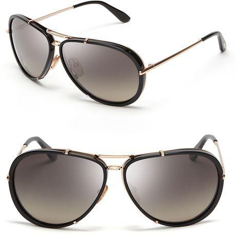 TOM FORD Black Cyrille Aviator Sunglasses - Lyst