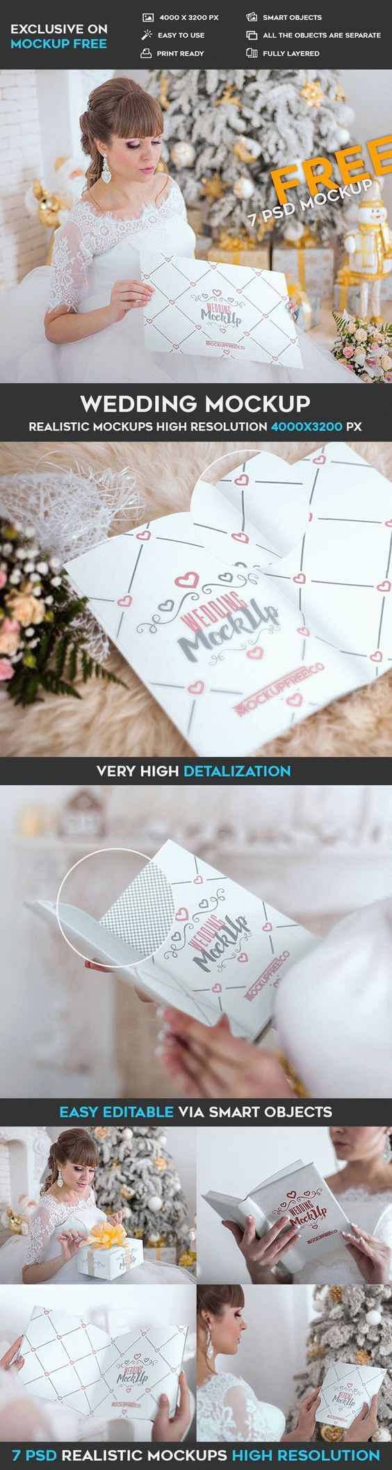 7 Free Wedding Invitation, Poster, Book PSD Mockups | Free PSD ...
