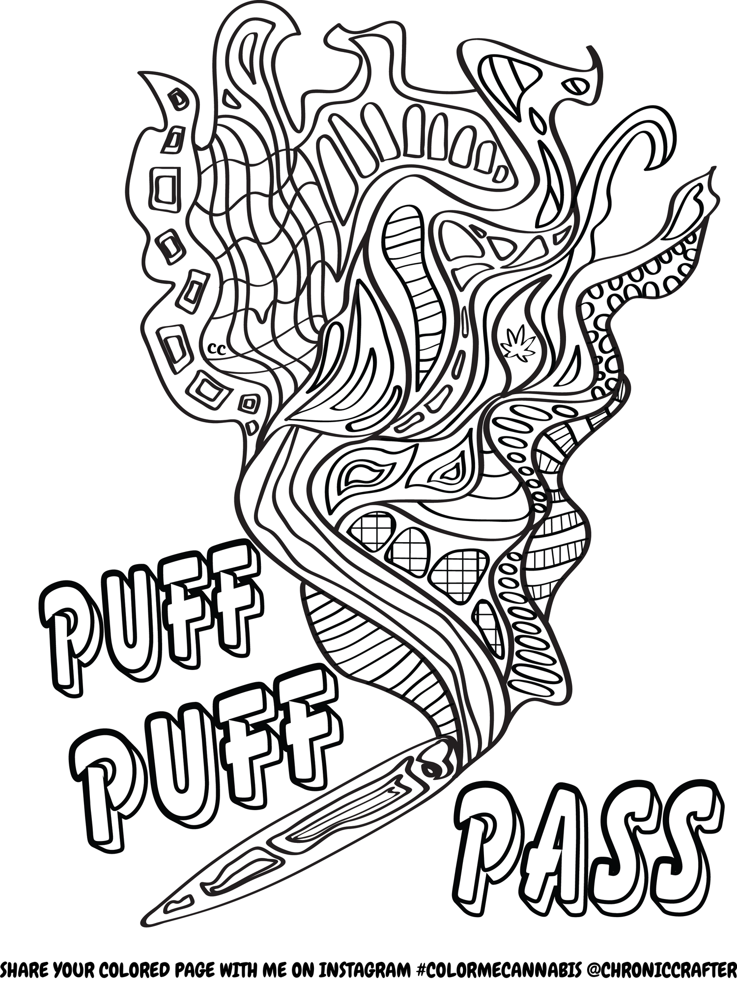free stoner coloring page from chronic crafter (