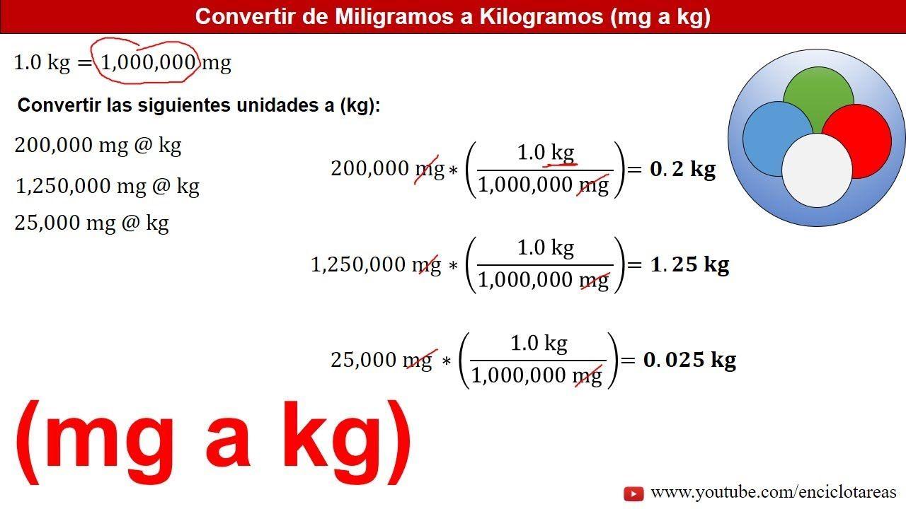 Miligramos A Kilogramos Mg A Kg Ejemplos Youtube Conversion De Unidades Ejercicios Resueltos Esquemas Electricos