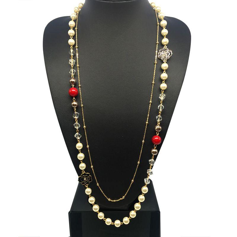 CNANIYA Brand Double Layer Simulated Pearl Long Necklace For Women Jewellery Bijoux Collier De Perles/Collar De Perlas/Bijuteria