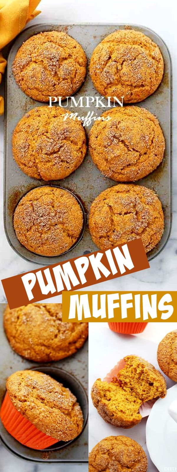 PUMPKIN MUFFINS! Pumpkin Muffins – Packed with pumpkin and topped with cinnamon sugar, these Pumpkin Muffins are soft, fluffy, super moist, and absolutely delicious! The best we've ever made. #pumpkinmuffins