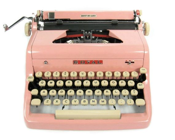 1957 Pink Royal Typewriter Quiet DeLuxe with Original Case and Vintage Metal Ribbon Spools by Retroburgh