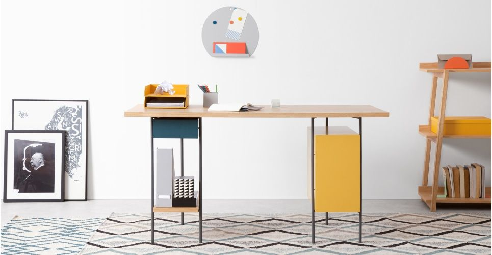 Made desk multi colour & oak red. coby desks collection from made