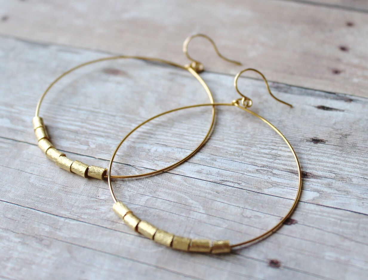 Photo of Hoop Earrings Gold Plated Hoops with Brushed Gold Gold Hoop | Etsy