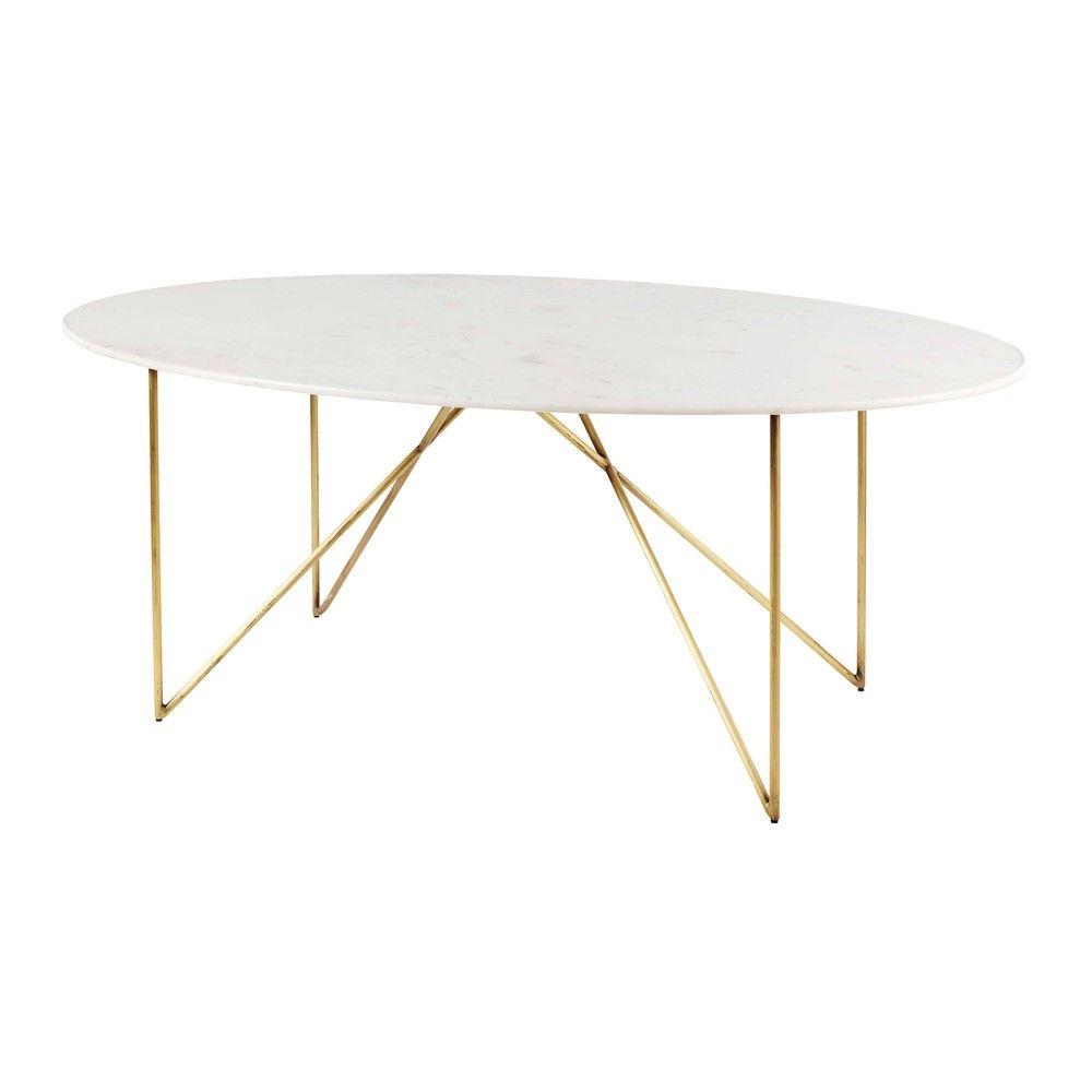 Table A Manger 4 6 Personnes En Marbre Blanc Et Fer Dore L200 Tavoli Da Pranzo In Marmo Tavolo Marmo Tavoli Da Pranzo Ovali
