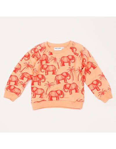 181f32a38139 Coral sweater with elephants and palm trees - Mini Rodini