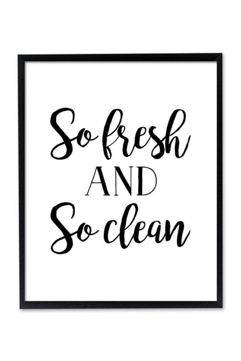 So Fresh And So Clean Printable Wall Art Bathroom Wall Art Cleaning Walls Printable Wall Art