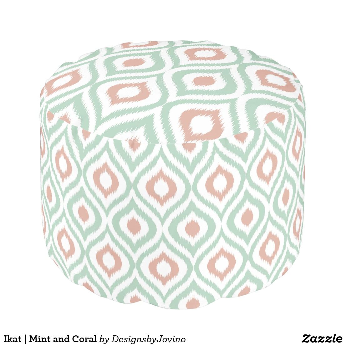 Pouf Mint Ikat Mint And Coral Pouf Zazzle In 2019 P