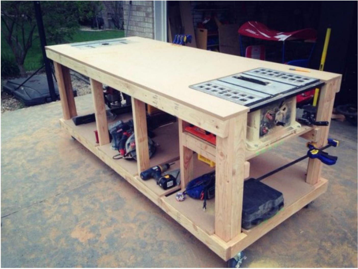 Easy Build Work Bench With Router And Table Saw Built In Workbench Garage Work Bench Woodworking Projects