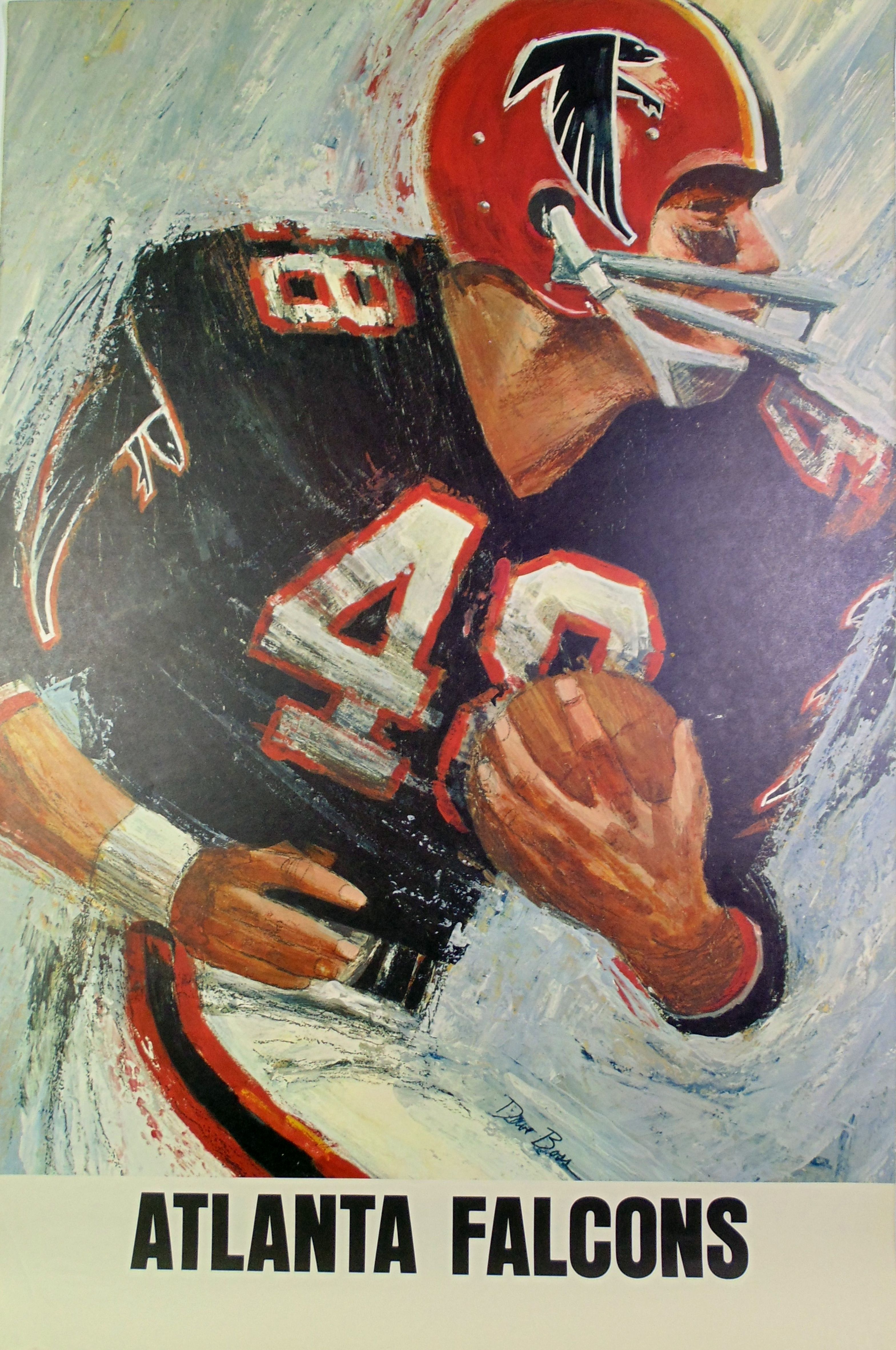 Vintage Falcons 1960s Nfl Poster Art By David Boss Atlanta Falcons Atlanta Falcons Art Football Art