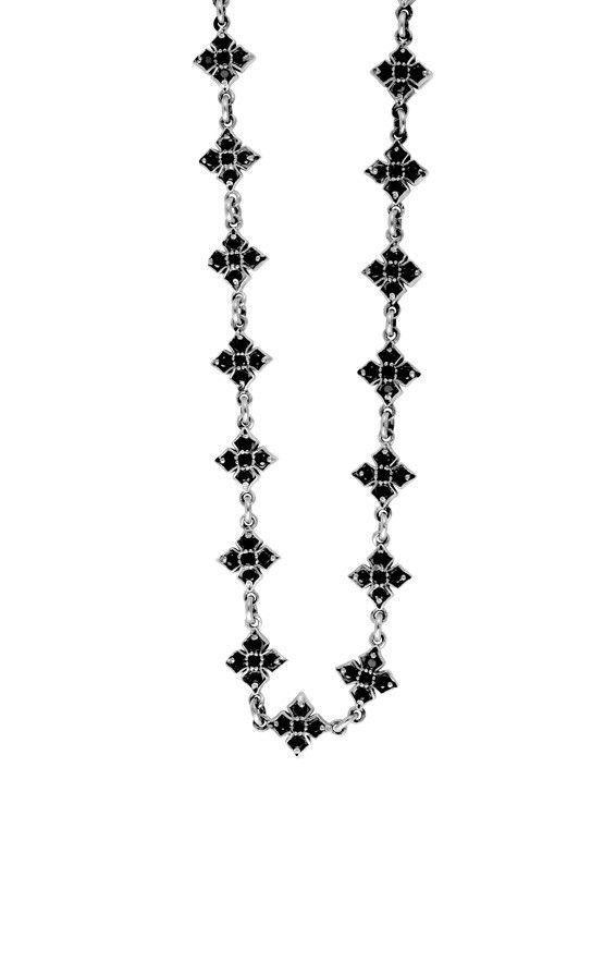 MB Cross Necklace w/Black CZ
