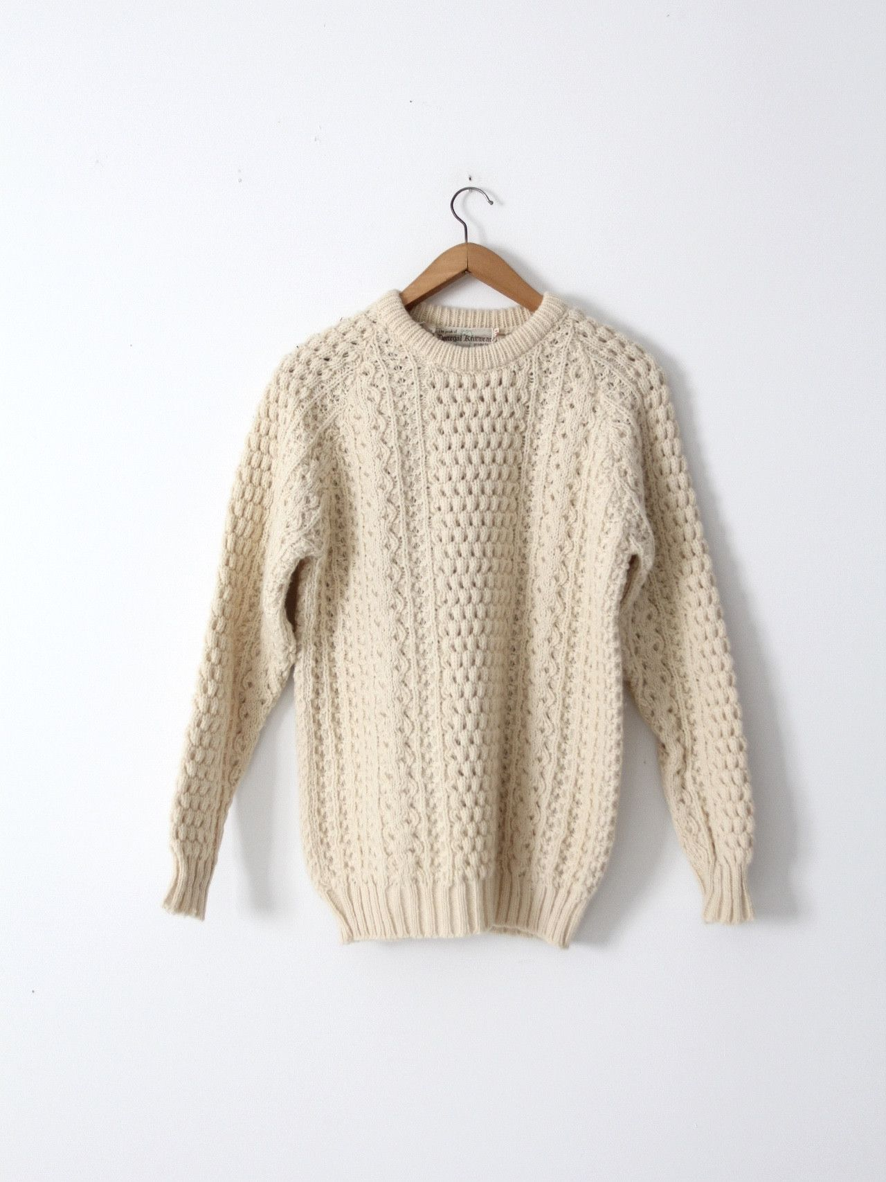 vintage Irish wool fisherman\'s sweater | Donegal, Cable knit ...