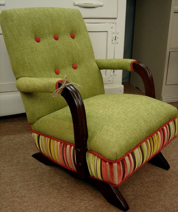 Reclaimed Vintage Mod Retro1940s Designer Upholstered Childs Rocking Rocker Chair Au Ships Fed Upholstered Rocking Chairs Vintage Rocking Chair Wicker Decor