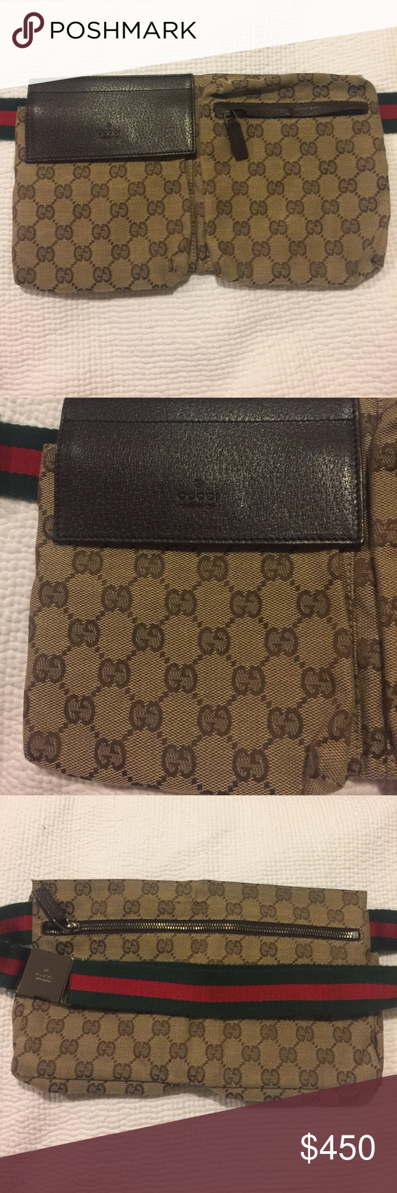 b83e8ae47511 Authentic gucci waist bag! great like new condition! gucci fanny pack with  red and green stripe. could be worn around the waist or over the shoulders.