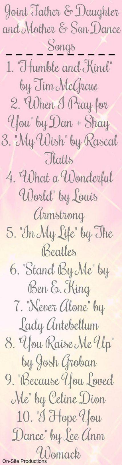 51 Ideas Wedding Songs First Dance R B Daddy Daughter Mother Son Dance Songs Mother Son Dance Father Daughter Wedding Songs