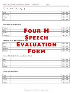 4 H Speech Evaluation Form Evaluations Evaluation Form
