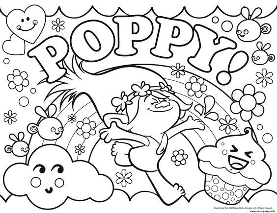 Print Trolls Poppy Coloring Pages Poppy Coloring Page Cartoon Coloring Pages Coloring Books
