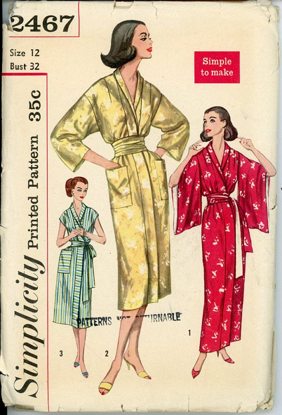 Simplicity 2467 Misses 1950s Kimono and Obi Robe Pattern Simple to ...