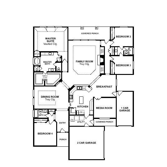 One floor 4 bedroom house blueprints one story home and One story house plans