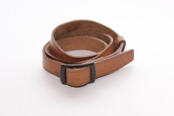 TAN BROWN LEATHER Belt, Men\'s Vintage 1950\'s Belt, Men Boyfriend ...