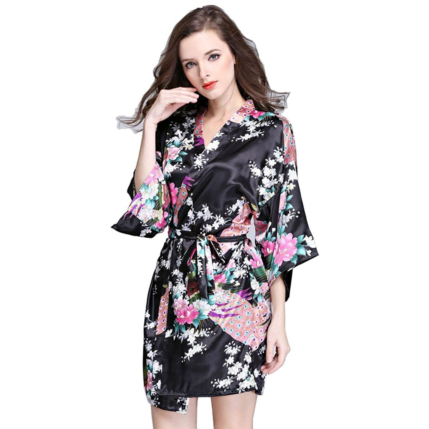 eaa436479c Women Bath Robe Summer Faux Silk Floral Lady Bathrobe Female ...