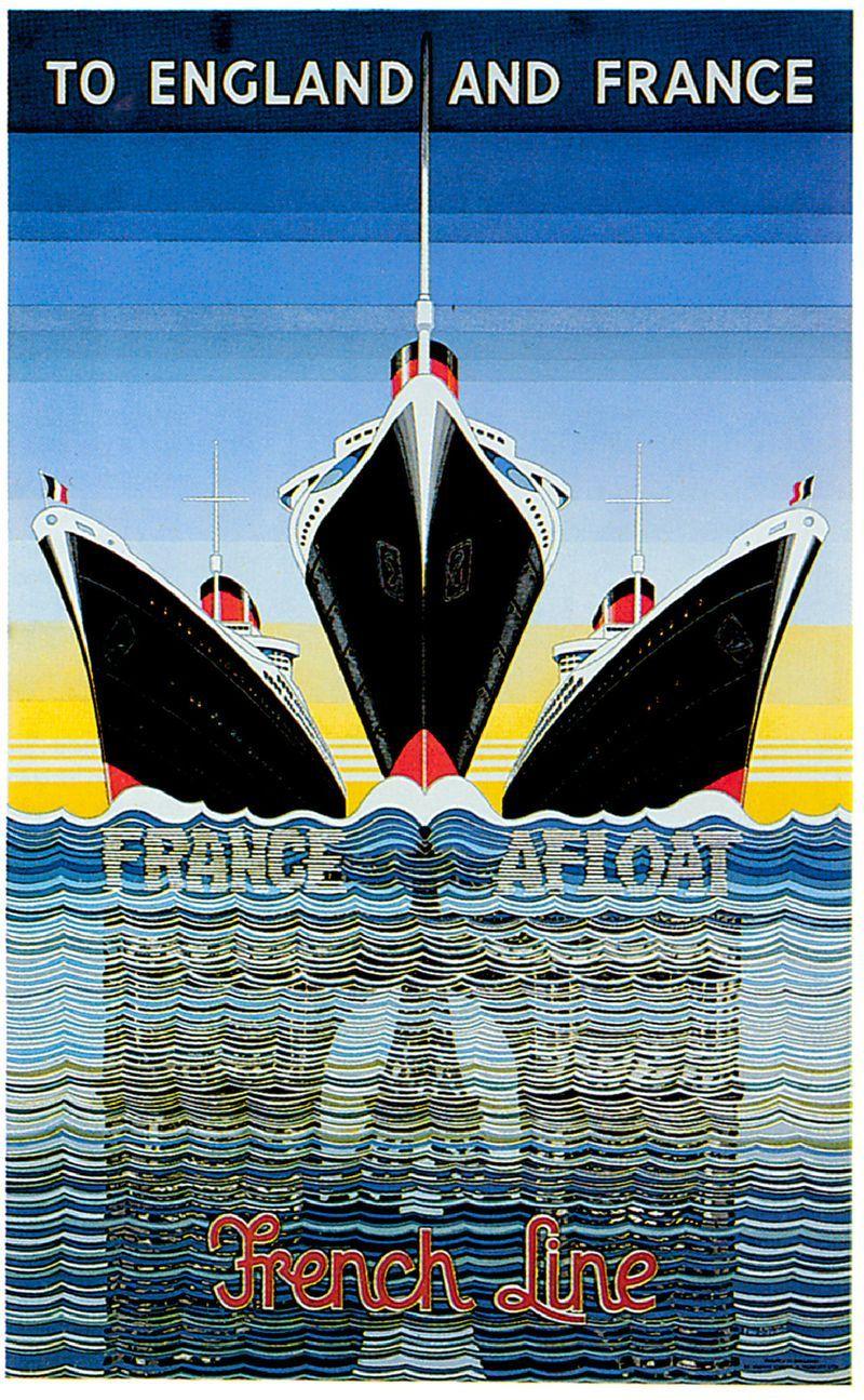 vintage travel poster france french boat print cruise ship poster art deco ocean liner art. Black Bedroom Furniture Sets. Home Design Ideas