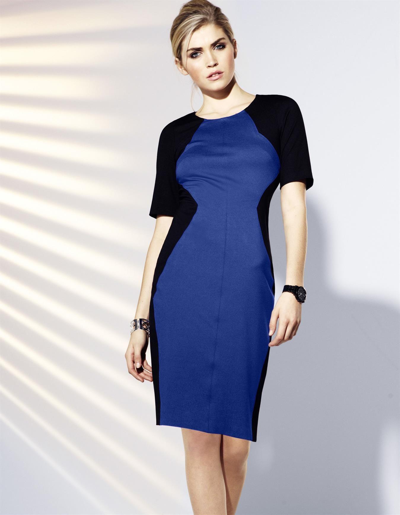 Kleid in der Farbe schwarz / royal - royalblau - schwarz ...