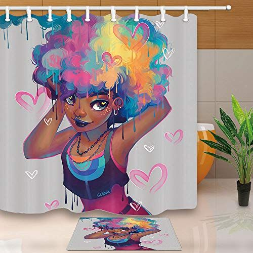 NYMB Watercolor African American Woman Shower Curtains Fo