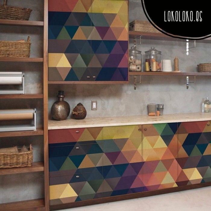 Vinilos Para Puertas De Armarios De Cocina | Patron Geometrico 13 Colores Calidos Vinilos Para Muebles Y
