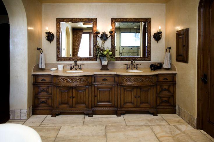 Master Bathroom Mediterranean Tuscan, Tuscan Bathroom Vanity