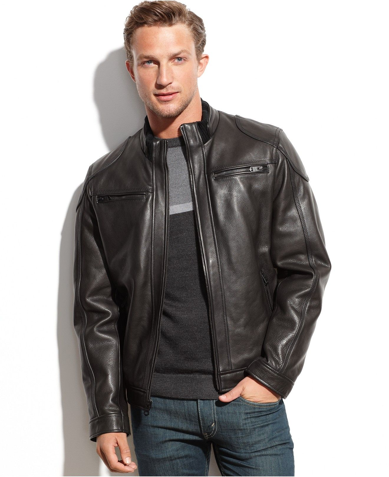 0b332373ae06 Calvin Klein Leather Moto Jacket - Coats & Jackets - Men - Macy's ...
